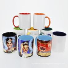 Sunmeta 11oz Blank Sublimation innere Griff Farbe Keramik Tassen Bei niedrigen Preis Großhandel von Sunmeta
