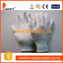 13 калибровочных Белый нейлон Белый PU перчатки со смешанными наручные Dpu109