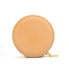 Bolso monedero portátil de cuero color caqui con monedero