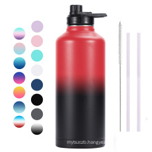 80oz Double Walled Wide Mouth Stainless Steel Vacuum Flask Sports Water Bottle