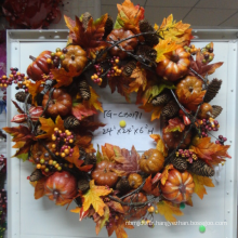 Couronnes de feuillus en plastique de haute qualité contenant des feuilles et des baies