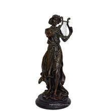 Musik Dekor Messing Statue Fairy Player Carving Bronze Skulptur Tpy-960