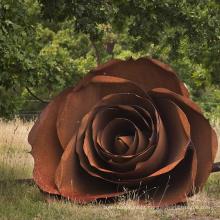 famoso metal arte parque temático flora grande rosas jardim corten aço escultura