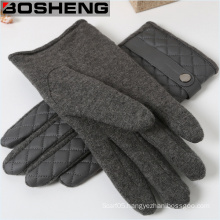 Winter PU Leather Warm Gloves, Warp-Knitted Velvet Cashmere Male Gloves