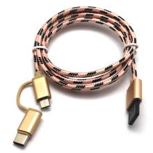 Preço de Fábrica 2 em 1 Cabo Nylon Trançado Micro USB com Porta Tipo C
