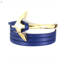 2017 leather wrap bracelet stainless steel anchor jewelry pendant parts