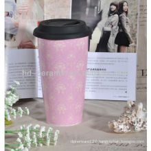 custom travel double wall porcelain mug