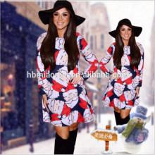 2017 new arrival natal plus size bodycon moda impresso casual dress mulheres sexy