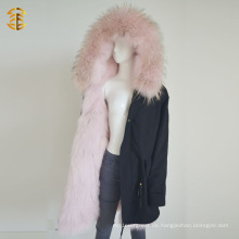Winter Lange Stil Mongolischen Rosa Mantel Pelz Parka Jacke