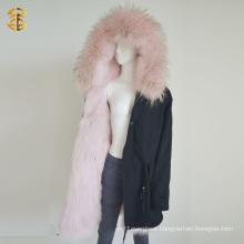 Winter Long Style Mongolian Pink Coat Fur Parka Jacket
