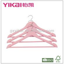 Cor rosa cabide de madeira com embalagem de varejo cor rosa 6pcs / set