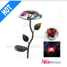 Highly Glass and Metal Solar Flower Mushroom Lights Stake