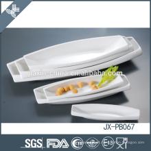 pasta do jantar da porcelana branca da forma do barco, placa da pizza,