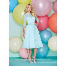 Wholesale Good Quality Simple Cheap Chiffon Long Sleeve Short A Line Bridesmaid Dresses LBS06