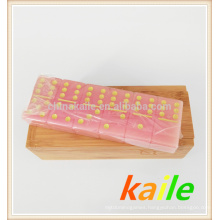Double six pink domino with wooden box