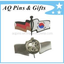Flag Crossed Offset Impresso Lapel Pin Badge com Epoxy (badge-128)