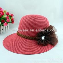 Sombrero de paja de papel de Sun de la playa del borde de las señoras baratas al por mayor del verano
