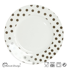 10.5 Inch White Porcelain with Decal Dinner Plate