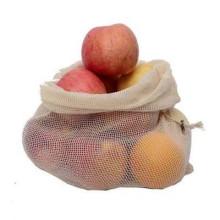 Eco friendly reusable grocery white cotton drawstring mesh produce bags