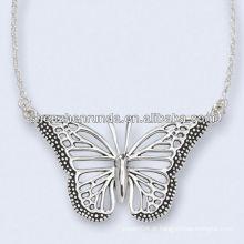 Aço inoxidável Antiqued Mariposa colar 18 polegadas cadeia