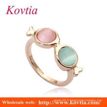 HOT SALE 18k anneaux d'or italiens avec deux diamants en pierre opale en diamant rose et en or blanc