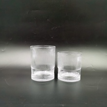 Cheap clear ribbed glass candle tumbler