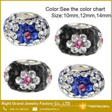 Perles de cristal de grand trou fleur pointillé Bracelet européen perles DIY breloques