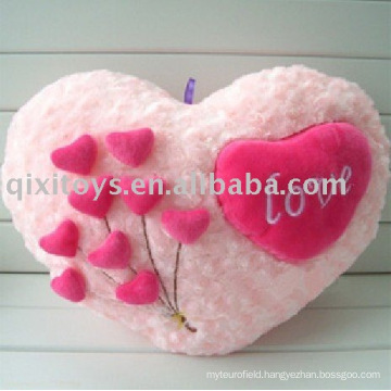 plush&stuffed heart-shape valentine cushion, soft flower cushion toy