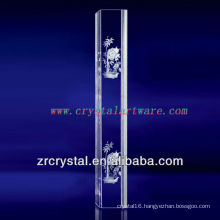 K9 3D Laser Peony Etched Crystal with Pillar Shape