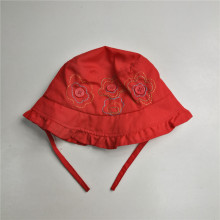 Baby Red Button Bucket Hat With String