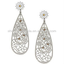 New Product For 2013 Fashion Stainless Steel Yellow Crystal Double Teardrop Earrings For Women