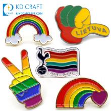 Free sample metal custom shaped soft hard enamel lovely cloud pin badge wholesale gay pride lgbt heart flag rainbow lapel pin