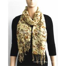 Bufanda de rayón con rayas florales