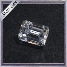 Prix de l'enquête 10 * 14mm diamant émeraude blanc coupé Moissanite