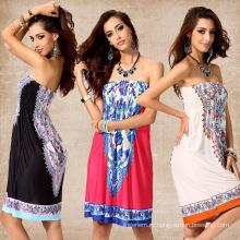 Мода груди макси платье импринтинг цветочные повседневные национальные костюмы