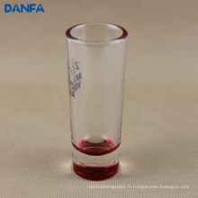 2 oz. Shooter Glass with Red Bottom (Options de couleurs multiples)