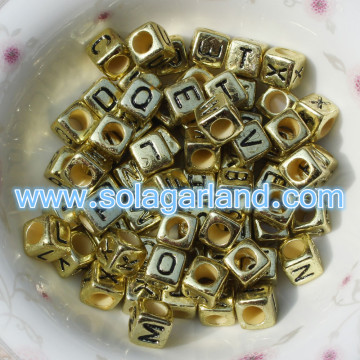 6x6mm Gold Mixed & Individual Alphabet Cube Beads Letter Square Beads