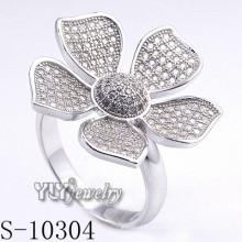 925 prata esterlina zircônia mulheres flor anel (s-10304)