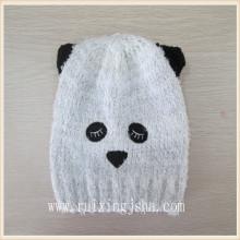 Filhos de panda de malha chapéus animais chapéus de crianças applique preto
