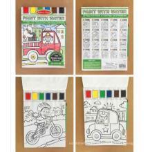 Niños niños para colorear libro de impresión con lápices de colores