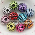 12MM,14MM,18MM,20MM Zebra Striped Solid Ball Acrylic Beads With Resin Crystal