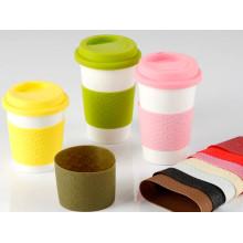 Manga de la taza del caucho de silicona 100% de la categoría alimenticia