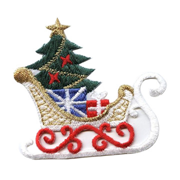 Classic Christmas Sleigh Broderade Patches On Cloth
