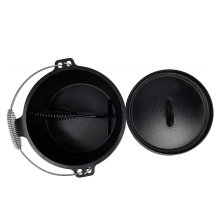 Pre-Seasoned Cast Iron Cookware Camping Dutch Oven with Three Legs