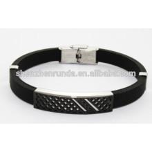 Pulsera del silicón del negro de la joyería al por mayor de la manera para el hombre China Supplier & Manufacturer & Factory
