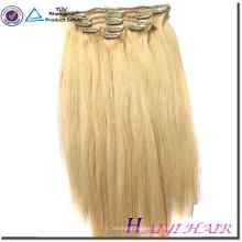 Clip al por mayor de la onda del cuerpo del color rubio de 5A en extensiones brasileñas del pelo humano de Remy de la Virgen