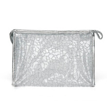 Lady Fashion Silver Nylon Mesh Cosmetic Clutch Pouch (YKY7536-1)