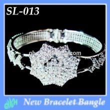 Yiwu Nueva Moda brazalete brillo plata al por mayor abierto pulseras de plata brazalete
