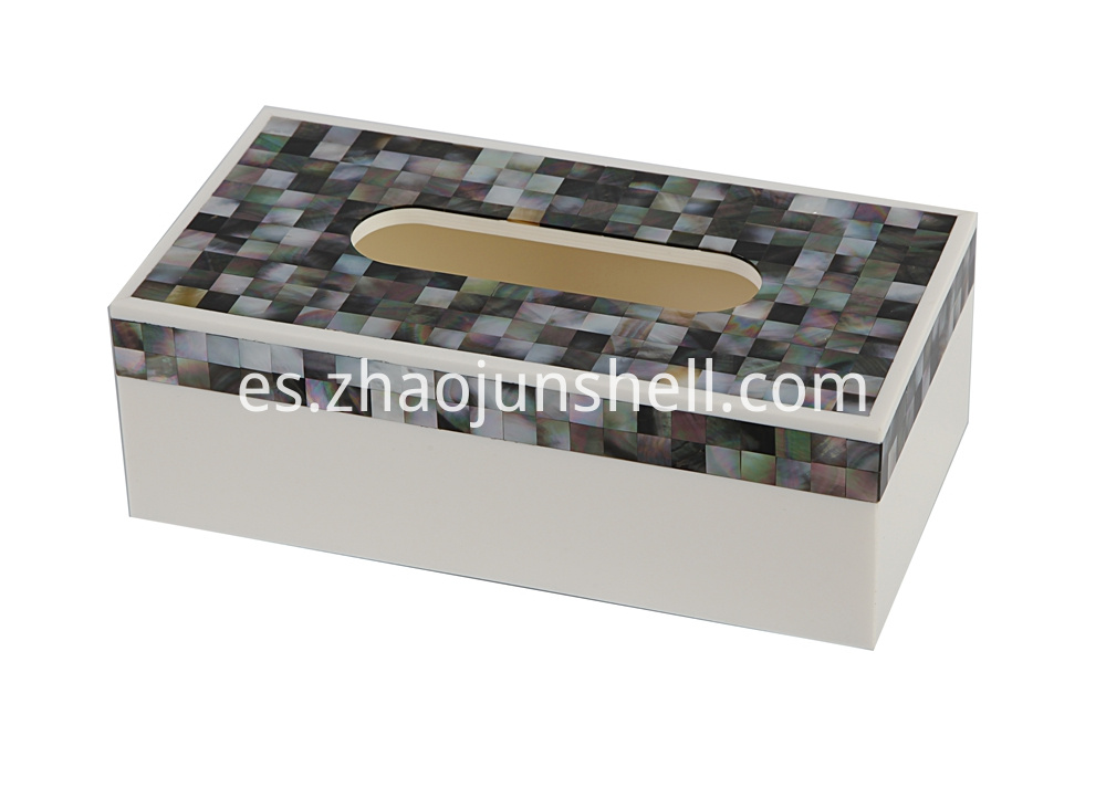 black mother of pearl rectangular tissue box