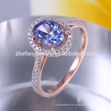 Plattierung Champagne Gold 925 Sonne Silber Ring mit blauem Stein